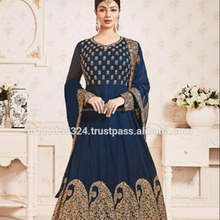Georgette Neavy Blue Party Wear Embroidered Work Anarkali Suit