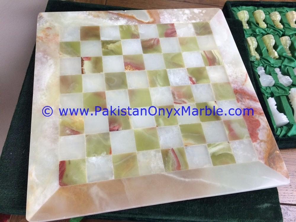 TOP QUALITY ONYX CHESS SET BOARDS CHECKERS GAME WHITE ONYX GREEN ONYX