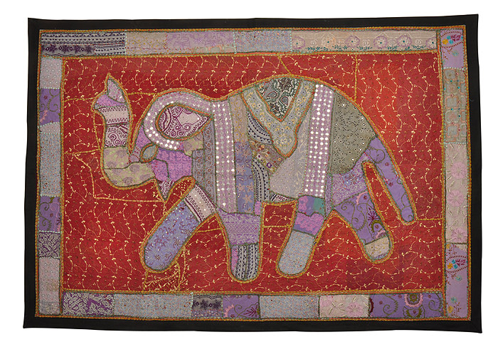 Jaipuri Elephant Embroidered Red And Purple Cotton Patchwork Tapestry For Sale