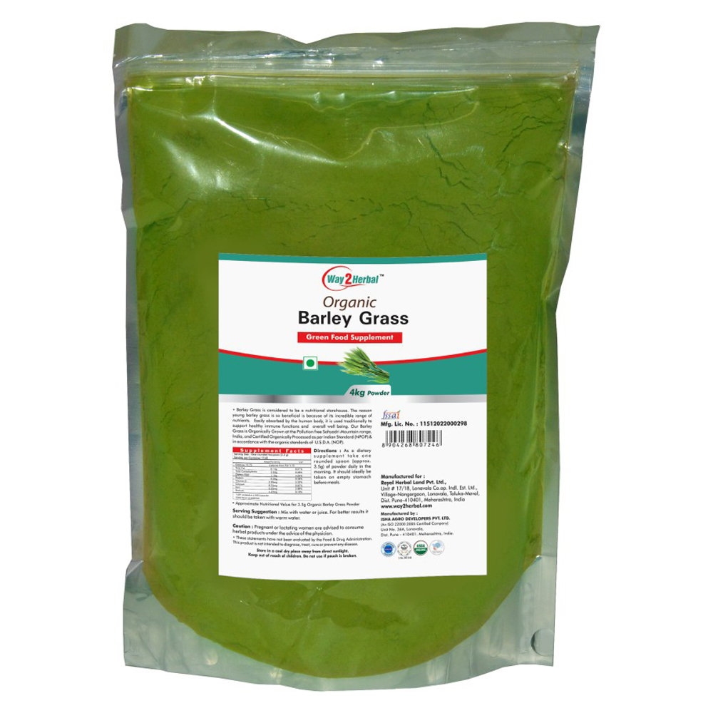 Way2Herbal Farm Fresh Barley grass Powder Organically certified by USDA, NOP & NPOP - with - Natural and Pure - 4 kg pouch pack