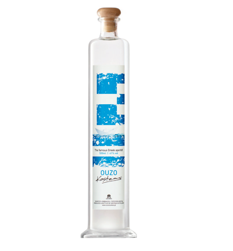 """ Greek Flag "" Traditional Greek Ouzo - Alcoholic Spirit Beverage Aromatic Aperitif Drink in 500 ml Glass Bottle"