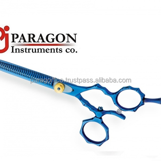 SUS440 Japanese steel Blue Color coating hair cutting thinning barber scissors