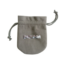 Silver Logo Foil Stamped Suede Drawstring Jewelry Bag
