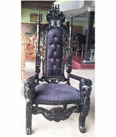 Antuque King Lion Hand Wood Carved High Back Throne Chair Black Velvet