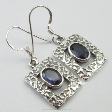 Latest Design Low Prices Women Jewellers Supplies Bohemian WELL MADE Jewelry 925 Pure Silver Rare IOLITE WOMEN'S Earrings 1.3""