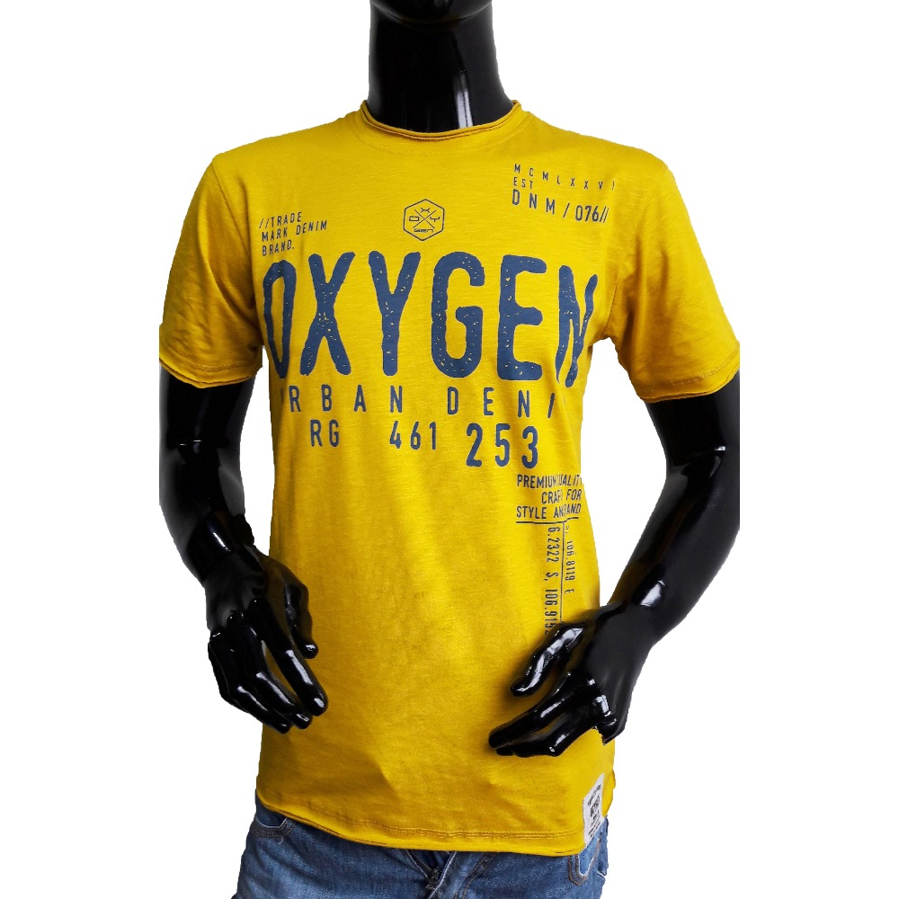 Oxygen High Quality Round Neck Men Clothes T-Shirt Thematic Series Mustard Color