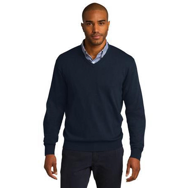 Port Authority Men's V-Neck Sweater - 60/40 cotton/nylon and comes with your logo