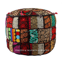 Maniona Indian Bohemian Pouf Storage Ottoman Patchwork Moroccan Pouf Wholesale Foot Stool Cover