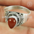 Flamboyant red carnelian gemstone band ring silver jewellery 925 sterling silver wholesale jewelry