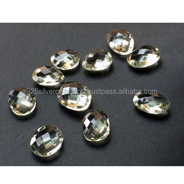 100% Natural Green Amethyst Oval Shape Briolettes Loose Gemstone