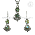 High fashion design flashy labradorite gemstone jewelry set 925 sterling silver handmade jewellery exporters