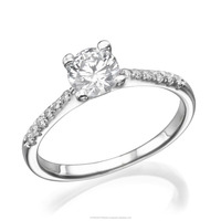 14K White Gold Solitaire Diamond Ring With Natural Diamonds 0.56 Carat
