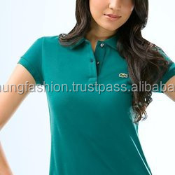 women's office uniform design polo shirt with short sleeve
