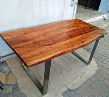 live edge Dining Table with chrome plated legs