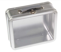Factory Wholesale lunch tin box with clear window and handle