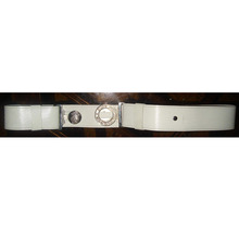 PVC belt with DIEU ET MON DROIT buckle/White leather belt for marching band/flute band