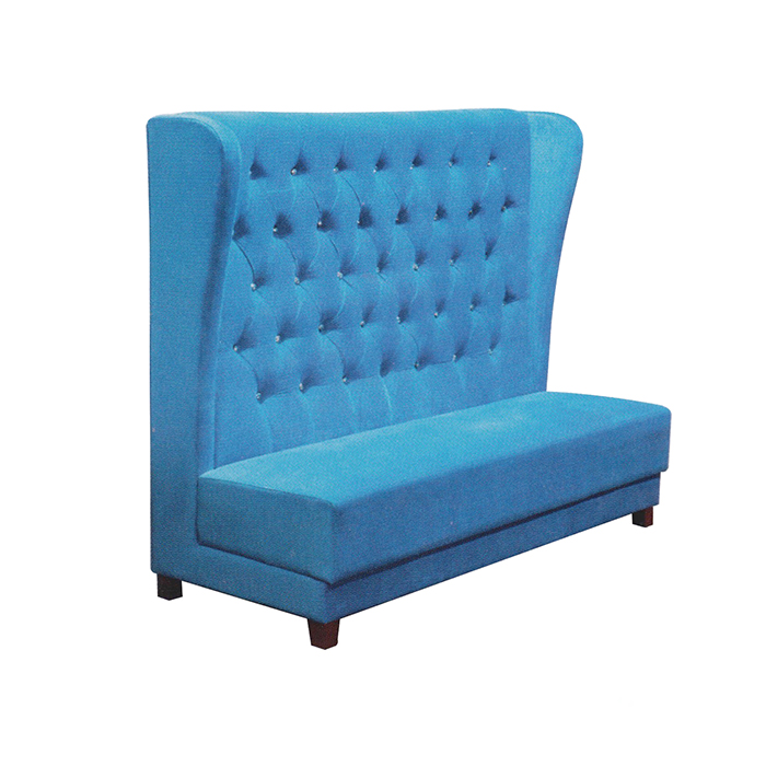 Modern style restaurant furniture blue 3 seater high back leather restaurant sofa booth