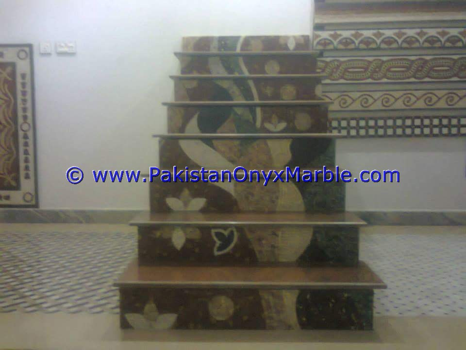 FINE QUALITY MARBLE STAIRS STEPS RISERS MOSAIC TILES MARBLE MODERN DESIGN HOME OFFICE DECOR NATURAL MARBLE STAIRS