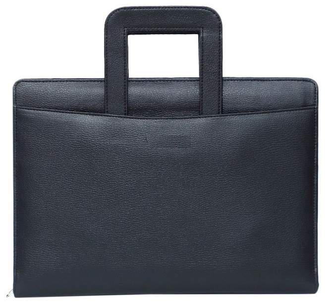 Leather Conference Folder Black With Handle