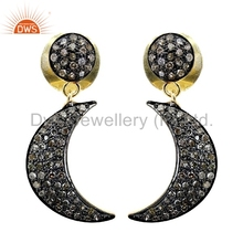 Half Moon Design Pave Diamond Dangle Drop Earring 925 Silver Womens Earring Jewelry Supplier