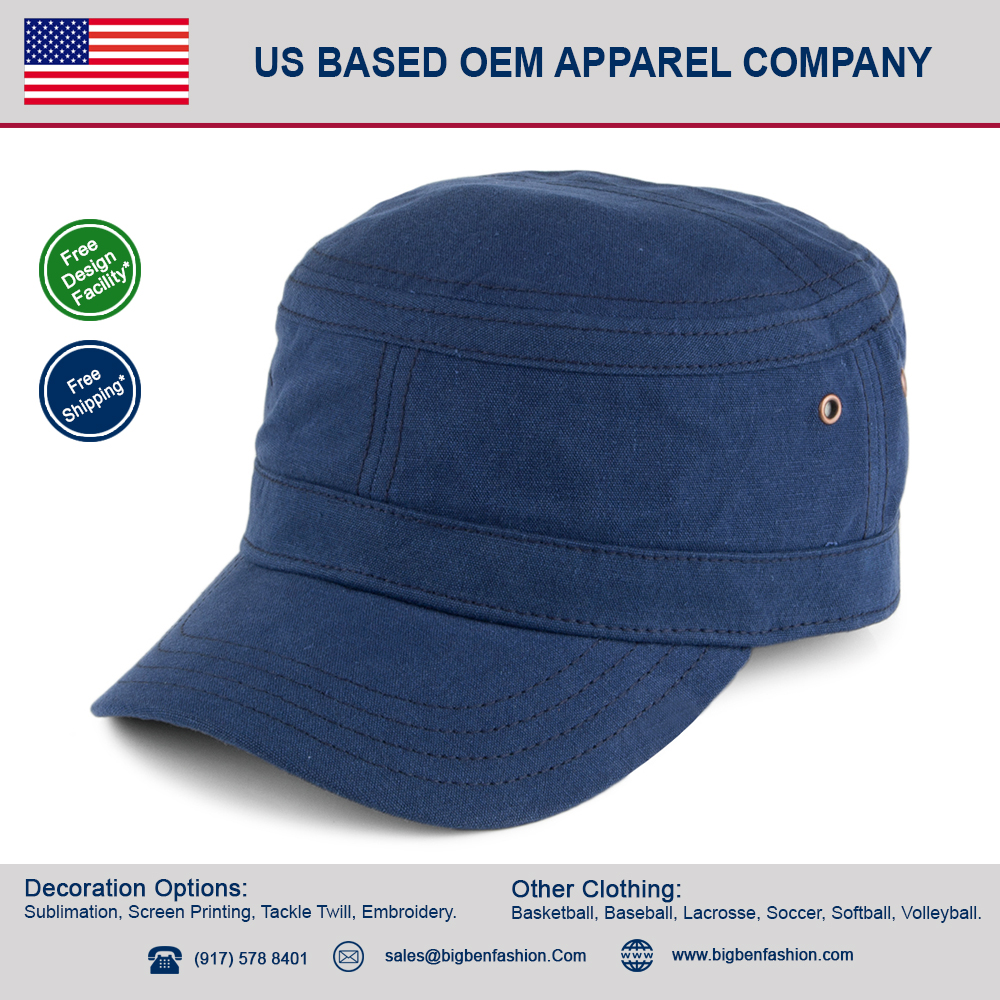 High quality 100% cotton Waxed Canvas navy blue hat / navy seal hat