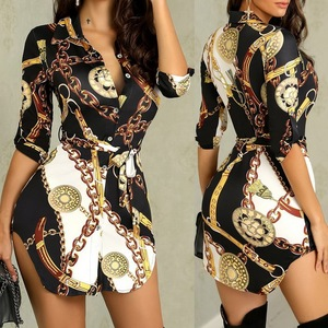Amazon Europe United States butterfly sleeve winter mini dress sexy night club 2019 Spring dress women gold chain print dresses