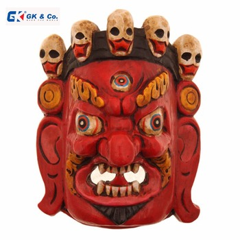 Red Bhairav Wooden Mask from Nepal-Hand crafted