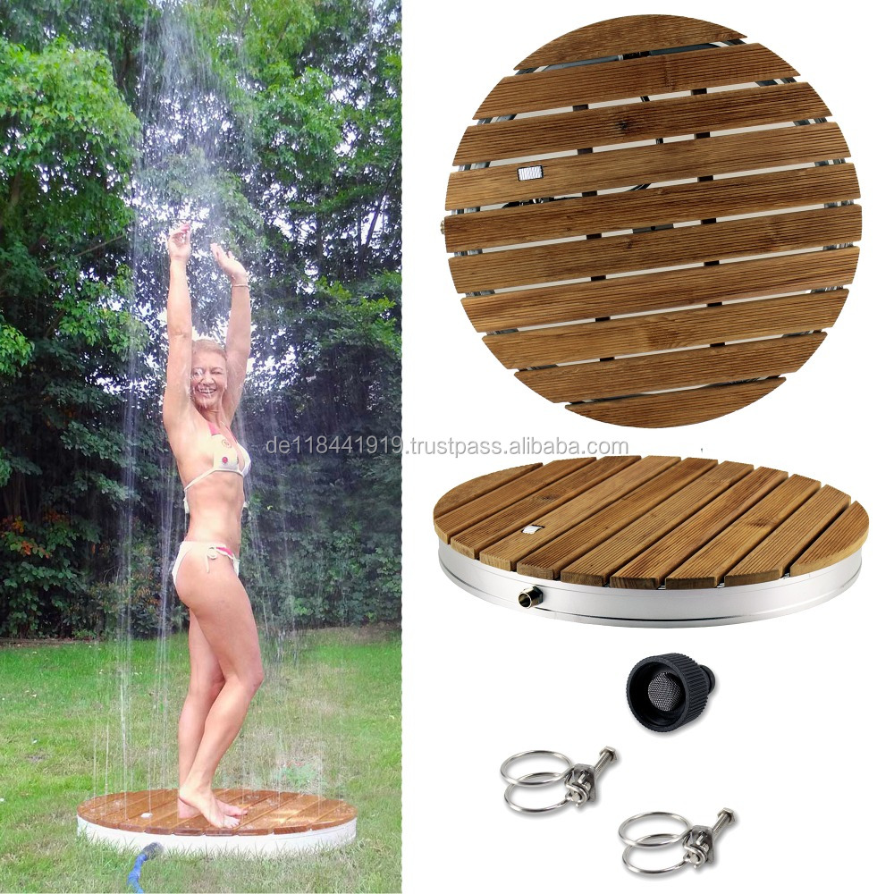Teak Wood Outdoor Shower round 70cm diameter for Garden and Swimmingpool, Pool Accessory