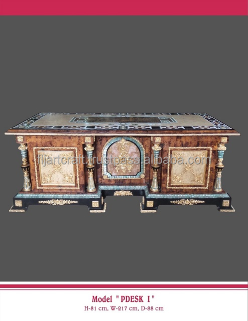 Antique inlaid rectangular Writing Office Desk in shell