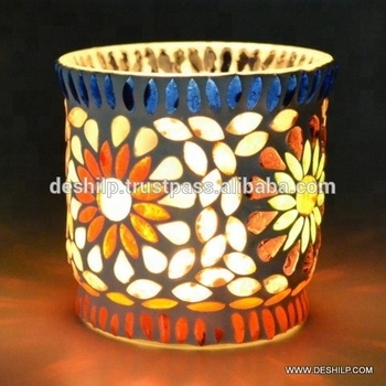 MOSAIC CANDLE VOTIVE,PILLAR CANDLE HOLDER,GLASS VOTIVE,VOTIVE