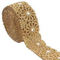 Hand Beaded Bridal Border 1 YD Trim Golden Cutwork Border Sewing Lace Rhinestone