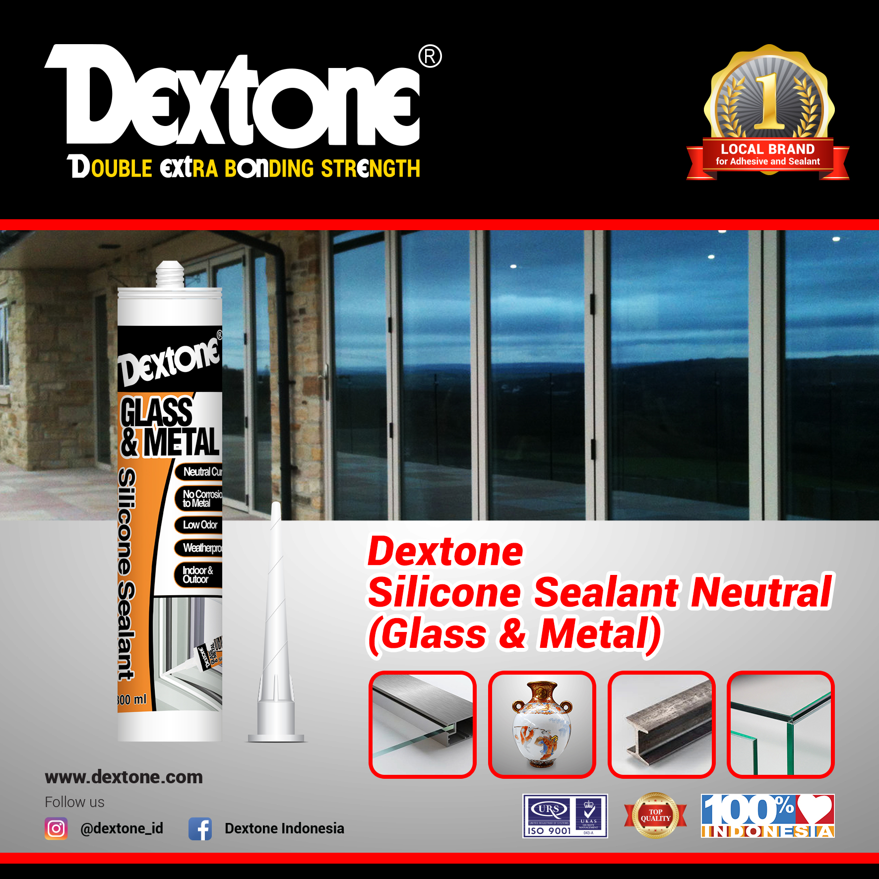 Dextone Silicone Sealant Neutral (Glass & Metal)
