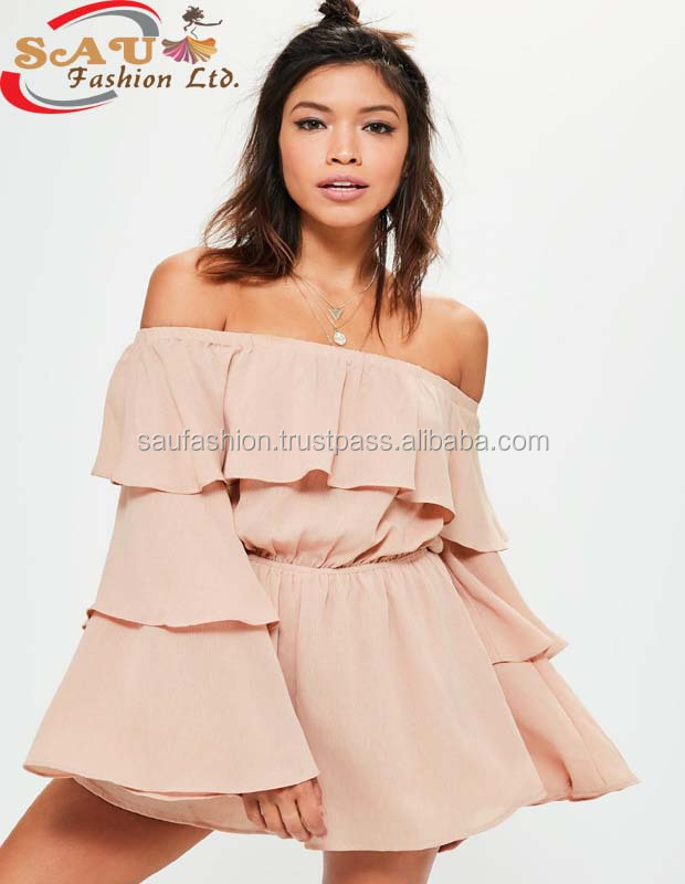 2017 Ladies Dress For High Fashionable Nude combishort ruffled chiffon exclusive small