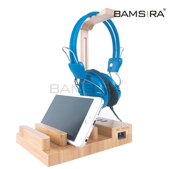 Wooden Headphone Stand, Bamboo Headphone and Phone Pad Stand /Bamsira_Factory