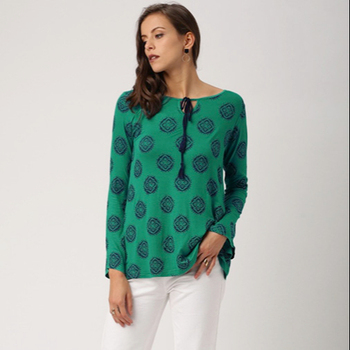 Ladies Blouses & Tops Round Neck Three Quarter Sleeves Printed top in Knit Casual Woman Tops