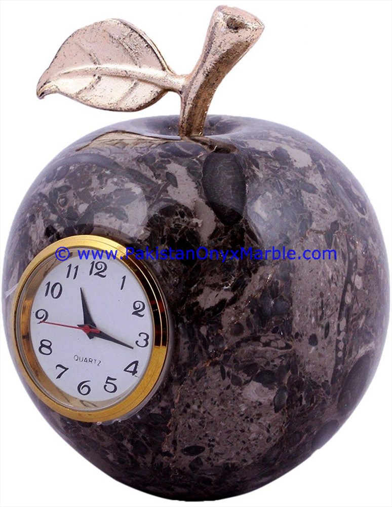 CUSTOM DESIGN MARBLE CLOCKS APPLE SHAPE HANDCARVED NATURAL STONE