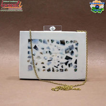 MOP filled metal resin box clutch bag acrylic customized designs available