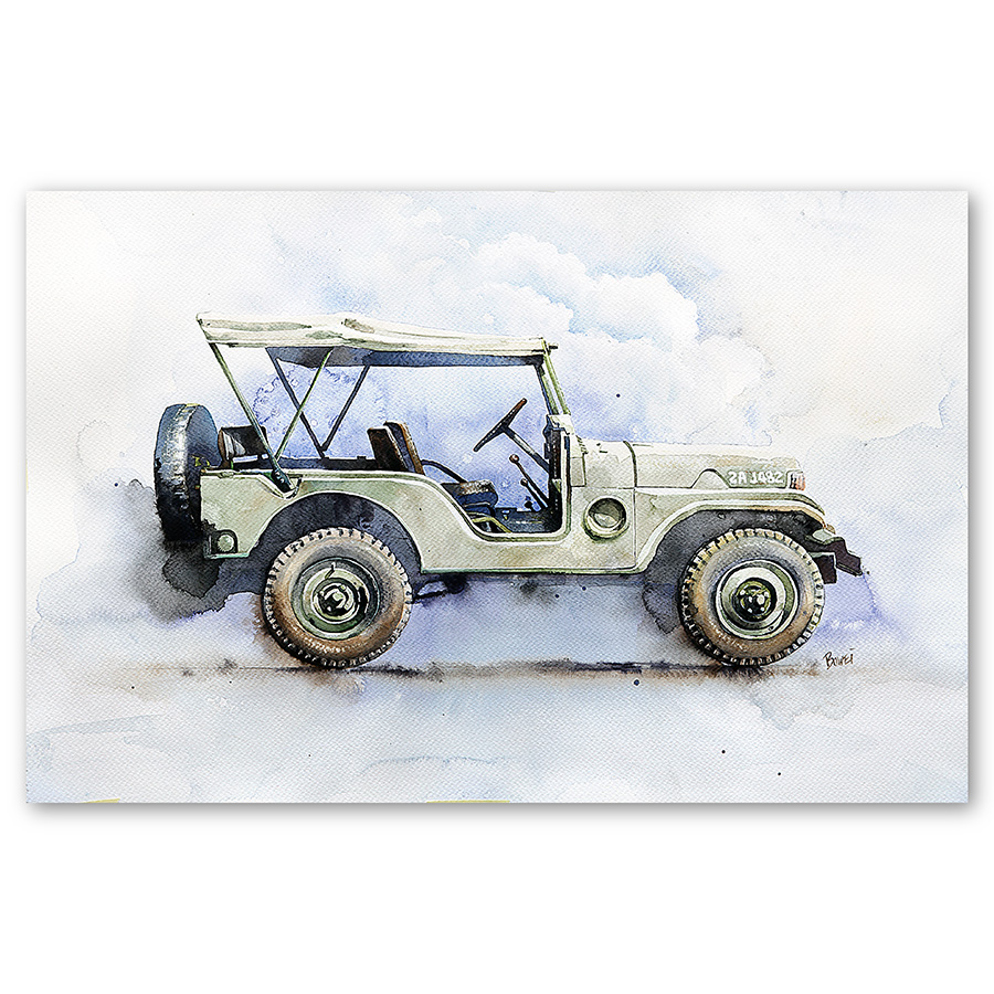 Malaysia Print Amazing Watercolor Jeep Printed On High Grade Photo Paper for Wall Art