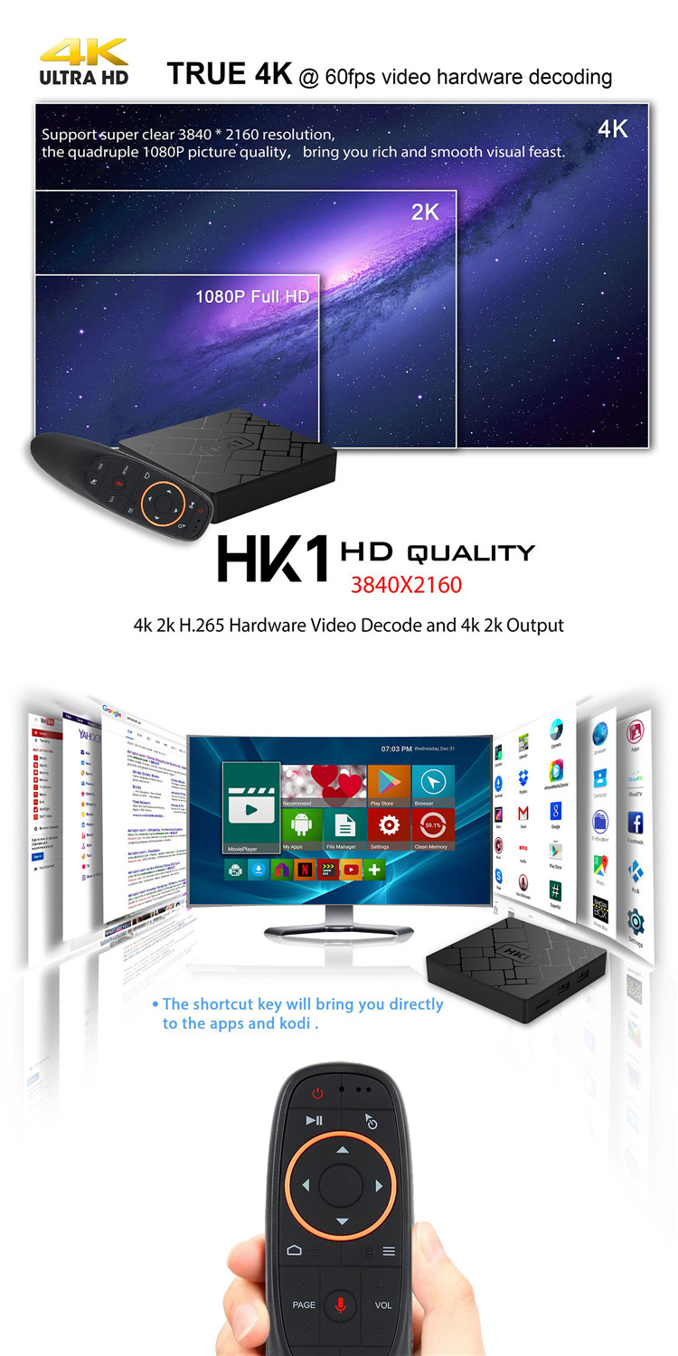 Cheap Price Satellite Receiver Amlogic S905w Tv Box HK1 4k HK1 7.1 Android Smart Tv Box keyboard with speech control