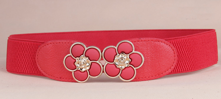 wp1040a Women Floral Design Interlocking Buckle Elastic Waist Belt
