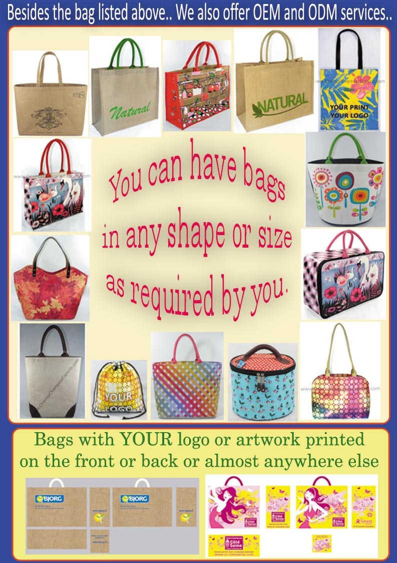 printed jute cotton school bag in your logos and brand