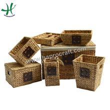 Set of 7 New Collection Natural Water Hyacinth Storage Basket & Tray/ Wire storage laundry basket and trunk