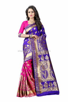 Women's Embellished Woven Art Silk Blue & Pink Designer Saree for Women, Suit in Every Occasion