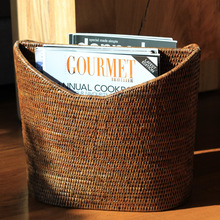 Natural rattan magazine holder