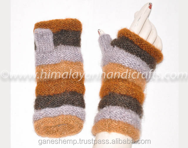 Colorful Multilining Design Hand Knitted Wool Fingerless Hand Warmers