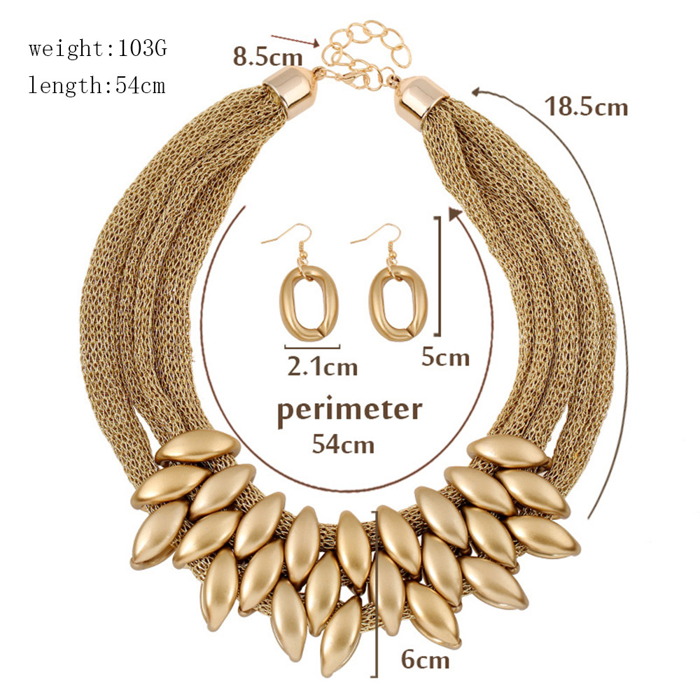 Jewelry Sets African Beads Gold Color Wedding Accessories Summer Style Crystal Bridal Necklace Bracelet Earrings Set 2017