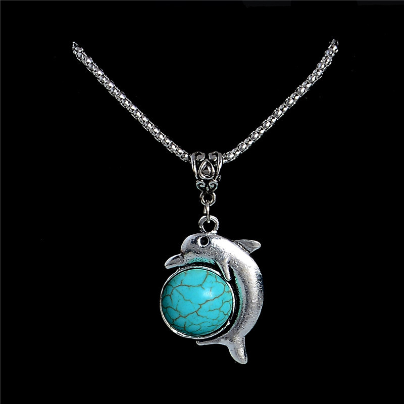 Fashion Stone Statement Necklace Vintage Tibetan Silver Chain Dolphin Pendant Necklace Animal Style Fine Jewelry