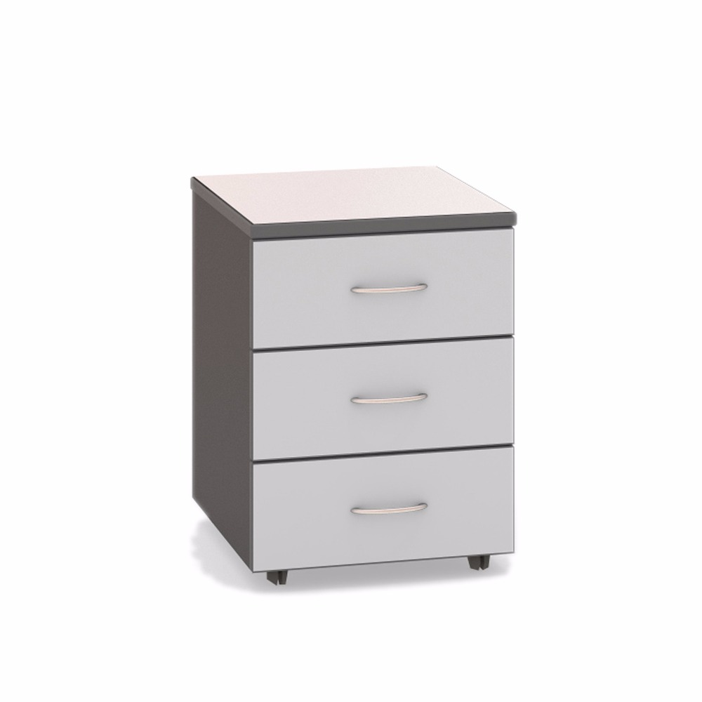 Office furniture drawer roll-out on wheels three drawers with a lock