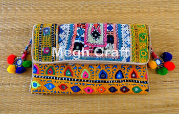 Handmade Patchwork clutch- Kutchiwork Pompom Clutch Bag- Boho beads mirror embroidery- Bohemian Banjara Clutch purse