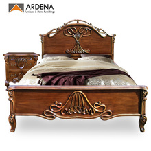 Classic appearance queen size bed designs with carving - Bedroom Furniture